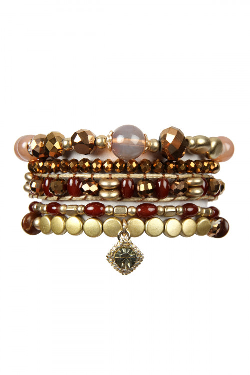 A1-2-4-AHDB2541BR BROWN MIXED BEADS CHARM BRACELET SET/6SETS