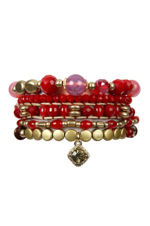 S7-4-4-AHDB2541RD RED MIXED BEADS CHARM BRACELET SET/6SETS