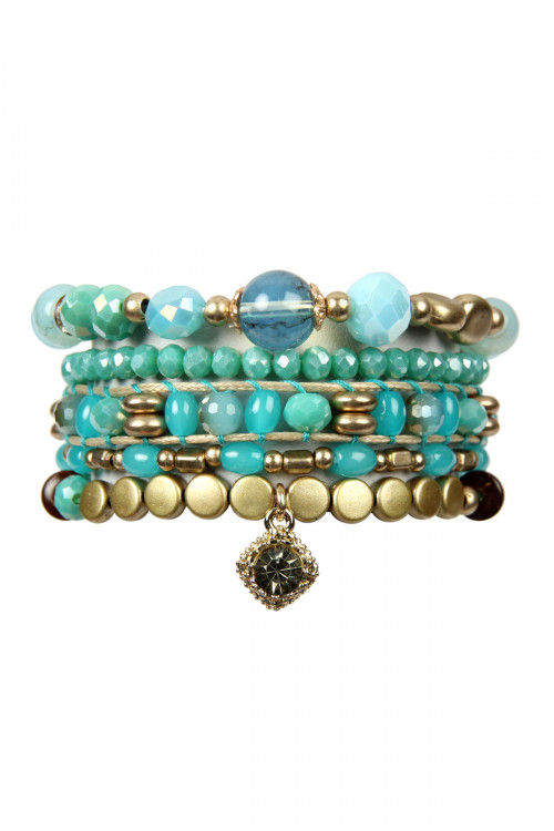 S7-4-4-AHDB2541TQ TURQUOISE MIXED BEADS CHARM BRACELET SET/6SETS