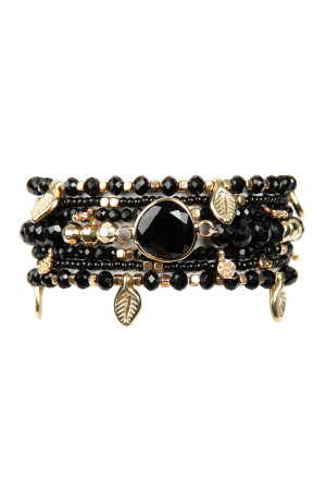 S6-4-3-AHDB2546BK BLACK LEAF CHARM STRETCH BRACELET SET/6SETS