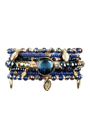 S6-4-3-AHDB2546NV NAVY LEAF CHARM STRETCH BRACELET SET/6SETS