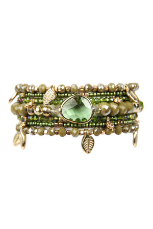 SA3-1-2-AHDB2546OL OLIVE LEAF CHARM STRETCH BRACELET SET/6SETS