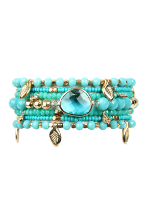 SA3-1-2-AHDB2546TQ TURQUOISE LEAF CHARM STRETCH BRACELET SET/6SETS