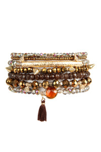 SA3-3-3-AHDB2548BR BROWN TASSEL CHARM BRACELET SET/6SETS