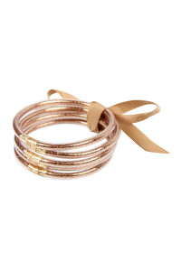 S4-6-1-AHDB2558BR BROWN 5 RING BANGLE WITH RIBBON BRACELET/6PCS