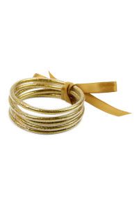 S4-5-2-AHDB2558G GOLD 5 RING BANGLE WITH RIBBON BRACELET/6PCS