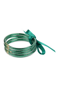 S4-5-4-AHDB2558GR GREEN 5 RING BANGLE WITH RIBBON BRACELET/6PCS