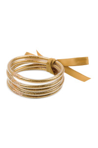 S4-5-4-AHDB2558MU MUSTARD 5 RING BANGLE WITH RIBBON BRACELET/6PCS