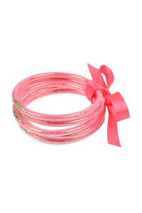 S4-5-4-AHDB2558PK PINK 5 RING BANGLE WITH RIBBON BRACELET/6PCS