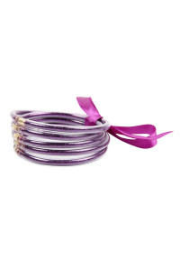 S4-5-4-AHDB2558PU PURPLE 5 RING BANGLE WITH RIBBON BRACELET/6PCS