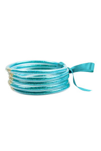 S4-6-3-AHDB2558TL TEAL 5 RING BANGLE WITH RIBBON BRACELET/6PCS