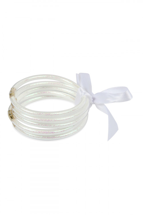 S4-5-4-AHDB2558WT WHITE 5 RING BANGLE WITH RIBBON BRACELET/6PCS