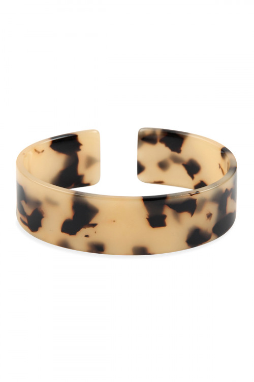 A1-1-3-AHDB2577BR BROWN TORTOISE ACETATE OPEN BANGLE BRACELET/6PCS