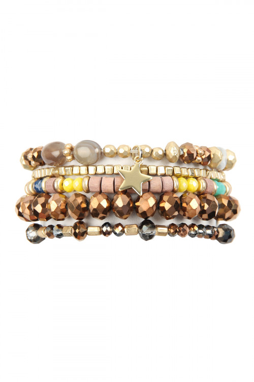 A3-2-2-AHDB2599BR BROWN MULTI LINE MIXED BEADS STRETCH BRACELET/6PCS