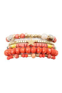 A3-2-4-AHDB2599COR CORAL MULTI LINE MIXED BEADS STRETCH BRACELET/6PCS