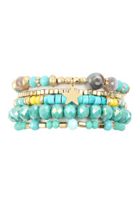 A3-2-4-AHDB2599TQ TURQUOISE MULTI LINE MIXED BEADS STRETCH BRACELET/6PCS