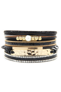 A2-3-2-AHDB2604BK BLACK MULTI LINE LEATHER WITH HAMMERED METAL PLATE CHARM BRACELET/6PCS