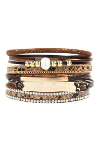 S6-4-4-AHDB2604LBR LIGHT BROWN MULTI LINE LEATHER WITH HAMMERED METAL PLATE CHARM BRACELET/6PCS