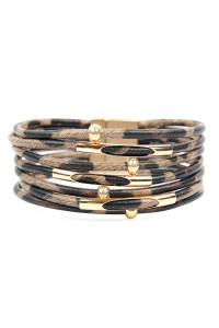 A3-2-5-AHDB2607BR BROWN MULTI TUBE LEOPARD CHARM BANGLE BRACELET/6PCS
