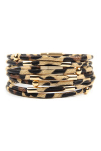 A3-3-2-AHDB2607LBR LIGHT BROWN MULTI TUBE LEOPARD CHARM BANGLE BRACELET/6PCS