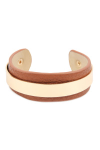 A1-2-2-AHDB2609BR BROWN SIMPLE LEATHER CUFF BRACELET/6PCS