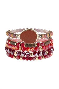 S7-4-2-AHDB2736RD RED NATURAL STONE CHARM MIXED BEADS BRACELETS/6PCS