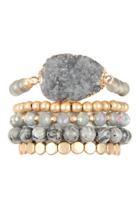 A1-1-4-AHDB2737GY GRAY DRUZY CHARM MIXED BRACELET SET/6SETS