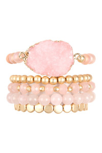 A1-1-4-AHDB2737PK PINK DRUZY CHARM MIXED BRACELET SET/6SETS