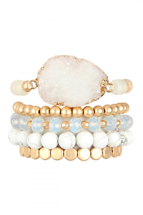 A1-1-4-AHDB2737WT WHITE DRUZY CHARM MIXED BRACELET SET/6SETS