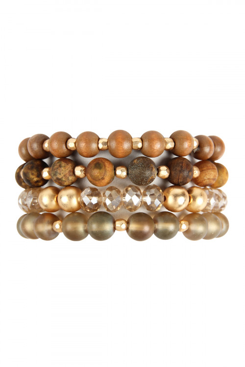 A1-2-2-AHDB2738BR BROWN FOUR LINES MIXED BEADS BRACELET/6PCS
