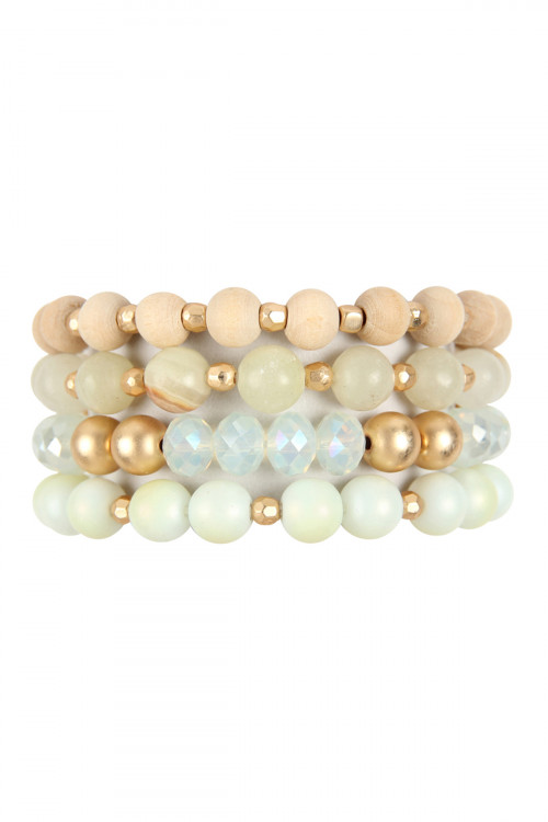 A1-2-2-HDB2738NA NATURAL FOUR LINES MIXED BEADS BRACELET/6PCS