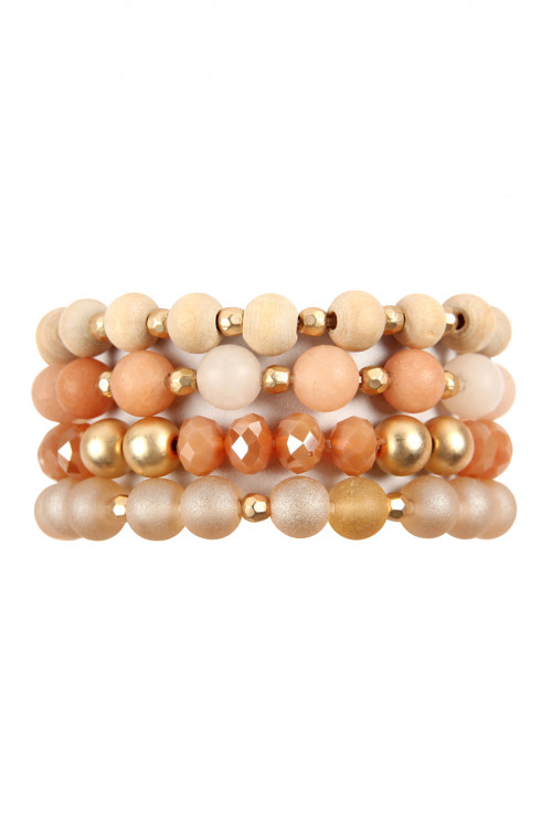 A1-2-2-HDB2738PE PEACH FOUR LINES MIXED BEADS BRACELET/6PCS