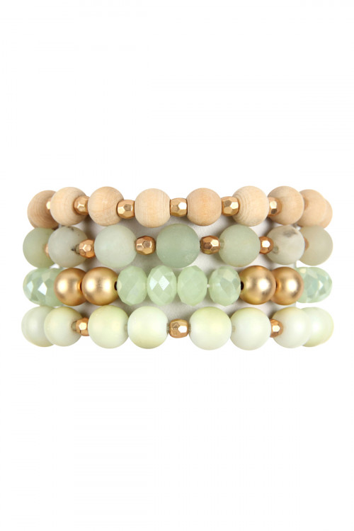 A1-3-2-HDB2738POM GREEN FOUR LINES MIXED BEADS BRACELET/6PCS