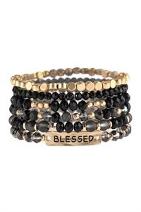 A3-2-4-AHDB2742BK BLACK BLESSED CHARM MIXED BEADS BRACELET/6PCS