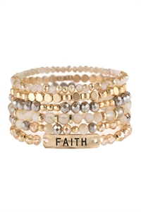 S5-5-2-AHDB2743LBR LIGHT BROWN FAITH CHARM MIXED BEADS BRACELET/6PCS