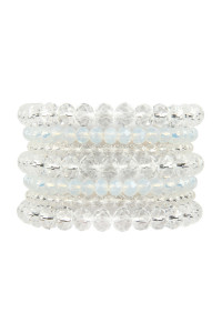 A1-3-2-AHDB2750CRY CLEAR SEVEN LINES GLASS BEADS STRETCH BRACELET/6PCS