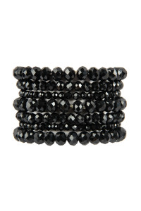 S18-7-1-HDB2750JT JET BLACK SEVEN LINES GLASS BEADS STRETCH BRACELET/6PCS