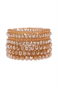 S22-10-1-HDB2750LPE LIGHT PEACH SEVEN LINES GLASS BEADS STRETCH BRACELET/6PCS