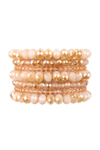 A1-3-2-AHDB2750LPK LIGHT PINK SEVEN LINES GLASS BEADS STRETCH BRACELET/6PCS