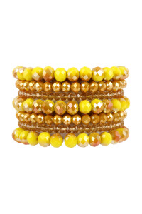 A1-3-2-AHDB2750MU MUSTARD SEVEN LINES GLASS BEADS STRETCH BRACELET/6PCS