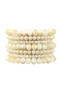A1-3-2-AHDB2750NA NATURAL SEVEN LINES GLASS BEADS STRETCH BRACELET/6PCS