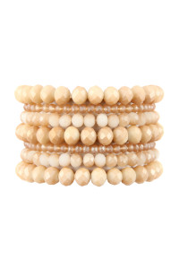 A1-3-2-AHDB2750NU NUDE SEVEN LINES GLASS BEADS STRETCH BRACELET/6PCS