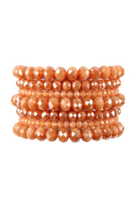 A1-3-2-AHDB2750PE PEACH SEVEN LINES GLASS BEADS STRETCH BRACELET/6PCS