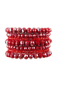 S18-8-1-HDB2750RD RED SEVEN LINES GLASS BEADS STRETCH BRACELET/6PCS