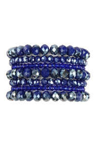 A1-3-2-AHDB2750SP SAPPHIRE SEVEN LINES GLASS BEADS STRETCH BRACELET/6PCS