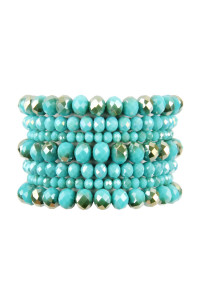 A1-3-2-AHDB2750TQ TURQUOISE SEVEN LINES GLASS BEADS STRETCH BRACELET/6PCS