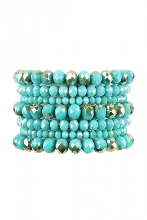 A1-3-2-HDB2750TQ TURQUOISE SEVEN LINES GLASS BEADS STRETCH BRACELET/6PCS