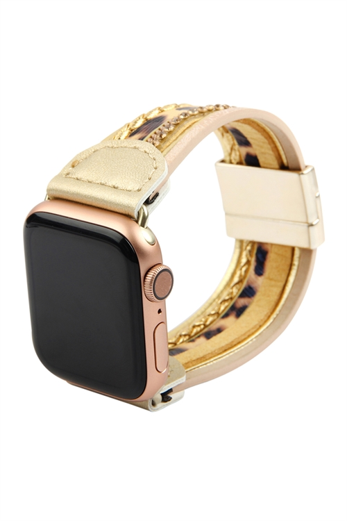 A3-2-4-AHDB2764LEO LEOPARD PRINT LEATHER APPLE WATCH MAGNETIC STRAP/6PCS   ***APPLE WATCH NOT INCLUDED***