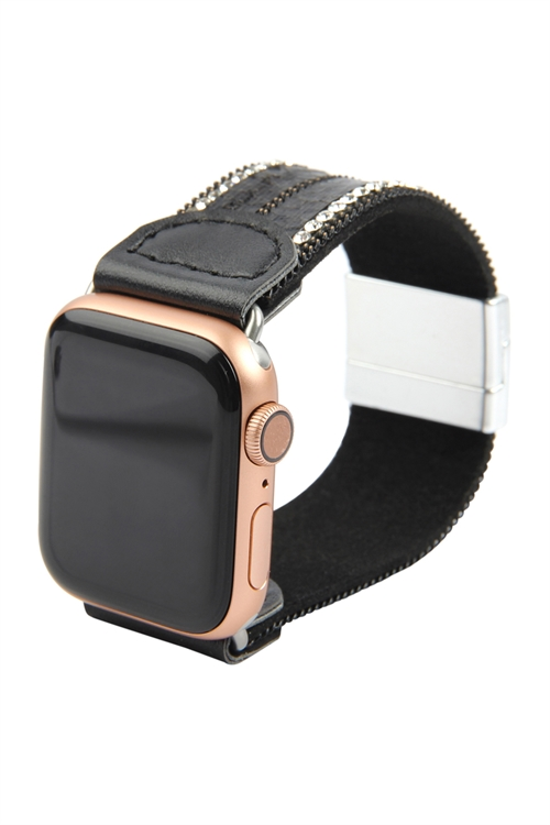 A3-2-4-AHDB2765BK BLACK SNAKE SKIN PRINT LEATHER WITH RHINESTONE APPLE WATCH STRAP/6PCS   ***APPLE WATCH NOT INCLUDED***