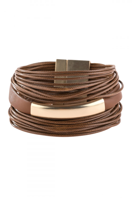 A3-2-4-AHDB2770BR BROWN MULTI STRAND WITH BAR LEATHER BRACELET/6PCS